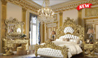 5 PIECE ROYAL FORMAL LUXURY EUROPEAN KING SIZE BEDROOM SET BED DRESSER MIRROR  cheap