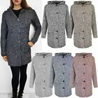 Womens Ladies Long Hooded Cardigan Button Up Winter Jacket Warm Knit Top Size