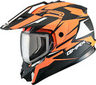 Gmax GM11 Vertical Dual Sport Snowmobile Adventure Snow Helmet Flat Black Orange
