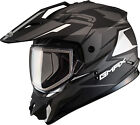 Gmax GM11 Vertical Dual Sport Snowmobile Adventure Snow Helmet Flat Black Silver
