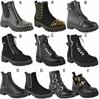 Womens Studded Ankle Boots Chunky Sole Low Heel Lace Up Biker Goth Punk Size UK