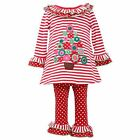 Bonnie Jean Girl Size 3T  Christmas Tree  Dress Legging Set  red