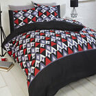 Geometric Triangles Abstract Teenager Boys Duvet Quilt Cover Set, Red & Black