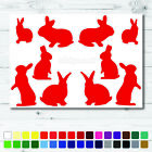 Bunny Rabbit Stickers Red Set Bunnies Wall Glass Car Vinyl Wall A4
