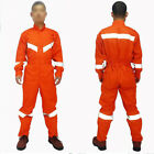 Mens Boilersuit Coverall Overalls Workwear Reflective Safety Front Mechanics