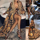 Boho Style Long Dress Women's Sexy V-neck Beach Summer Printed Floral Maxi Dress