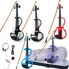 5 Color 8 Pattern Electric Violin Silent Set  w/ Case Bow Rosin & Accessories