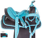 12 13 Teal Synthetic Western Trail Youth  Child Horse Saddle Tack Set New