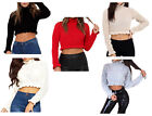 Ladies Womens Cropped Knitted Jumper Ruffle Frill Fashion Hem Long Sleeve Top