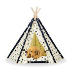 US Removable Star Pattern Pet Dog Cat Teepee Tent Bed Play Kennel House +Mat S/L