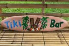 "39"" Hand Carved Solid Wood Tiki Bar Surfboard Sign Corona Shark Man Cave Totem"