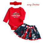 Newborn Baby Girl Christmas Clothes MY 1st First CHRISTMAS Romper Tutu Outfit US