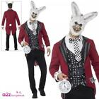 Uomo Deluxe Buio Coniglio Bianco Costume Alice Wonderland Halloween Fancy Dress