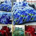 4Pcs 3D Bedding Set Queen Size Quilt Duvet Cover Bed Sheet Pillowcases Bedroom image