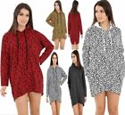 Womens Animal Leopard Print Hooded Top Ladies Over Sized Baggy Jumper Dress