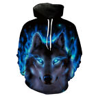 US Unisex Womens Mens Hoodie 3D Wolf Animal Sweatshirt Coat Jacket Pullover Tops