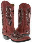 Women's Red Flower Inlay Silver Sequins Dress Leather Cowboy Boots Snip Toe