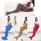 US Soft Hand-Crocheted Mermaid Tail Blanket Adult Sofa Sleeping Bag Blankets  image