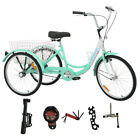 "3-Wheels Trike 24"" Adult Tricycle 1-Speed w/ Basket Bicycle 4 Different Colors"