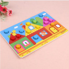 Wooden 3D Puzzle Jigsaw Toys Cartoon Color Cognition Board Games Education