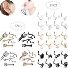 20G 8PCS 316L Surgical Steel Nose Rings Ear Studs L-Shape Body Piercing Jewelry image