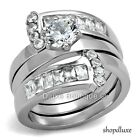 2.75 CT ROUND CUT AAA CZ STAINLESS STEEL WIDE BAND WEDDING RING SET SIZE 5-10
