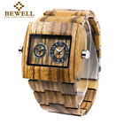 Bewell Mens Wood Watch Dual Time Zone Rectangle Big Dial Quartz Wooden Watches image