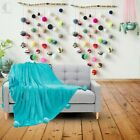 Luxury Solid Pom Pom Throw Reversible Fleece Sofa Bed Blanket Soft Warm & Cosy