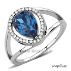 Women's Pear Shape Blue Montana CZ Stainless Steel Engagement Ring Size 5-10
