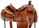 Team Roping Saddle 15 16 Western Hand Carved Leather Trail Ranch Horse Tack Set