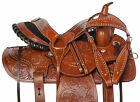 "Used Roping Saddle Western Pleasure Trail Ranch Work Leather Horse Tack 15"" 16"""