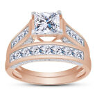 14k Rose Gold Sterling Silver Princess Diamond Cut Engagement Wedding Ring Set