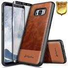 For Samsung Galaxy S8 S7 S6 Case | Rugged Shockproof Canvas Leather Hybrid Cover