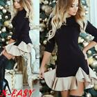 Womens Cocktail Party Bodycon Ladies Long Sleeve Frill Ruffle Mini Jumper Dress
