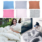 Super Soft Chunky Knitted Blanket Bulky Wool Thick Line Yarn Merino Throw Decor image