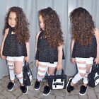 3PCS Toddler Baby Girl Off Shoulder T-Shirt Top  Ripped Jeans Pants Outfits Set