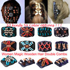 54x Women Wooden Magic Hair Combs Double Slide Clip Beads Elastic Hairpins Gifts