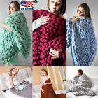 US Handmade Bulky Chunky Thick Merino Yarn Knitted Wool Throw Blanket 100*120cm image