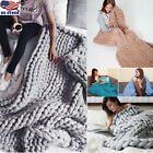 Handmade Large Soft Bulky Chunky Thick Merino Yarn Knitted Wool Throw Blanket US image
