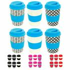 Bamboo Reusable Coffee Cups with Lid & Sleeve - 350ml - 3 Designs - Pack of 6