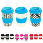 Bamboo Reusable Coffee Cups with Lid & Sleeve - 350ml - 3 Designs - Pack of 3