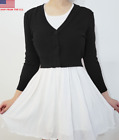 Vintage Cropped Cardigan for Women - 3/4 Sleeve Fitted V-Neck Knit  Plus Size