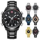 Men's Dual Display Dial Sport Watch Waterproof Steel Chronograph Wristwatch New