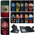 Wallet Case for [iPhone X / iPhone XS] Card Slot ID Canvas Cover Skull Flags