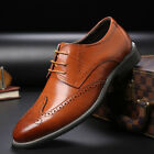 Men's Oxfords Brogue Leather Formal Casual Dress Lace up Wing Tip Wedding Shoes фото
