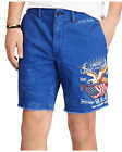 NWT RALPH LAUREN Polo Men Straight Cotton Twill Americana Embroidered Shorts