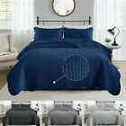 3 Piece Quilted Bedspread Set Bed Throw Comforter Double King Super King Size image