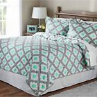 3-Piece Printed Mint Ogee Geometric Bedspread Quilt Set, Queen and King Size