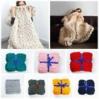 Chunky Knit Blankets Throws Bulky Blanket Soft Knitting Hand-woven Blankets Mat image