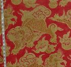 Asian Oriental foo dog fabric raspberry red gold dragon linen home decorating